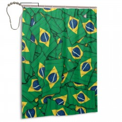 Brazil Flag Pattern Shower Curtain , Shower Bathroom Curtain 55x72 Inch Waterproof Fabric with Hooks , Wildly used in bathroom and hotel etc.