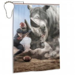 Brave American Football Player Facing A Big Rhino Shower Curtain , Shower Bathroom Curtain 55x72 Inch Waterproof Fabric with Hooks , Wildly used in bathroom and hotel etc.