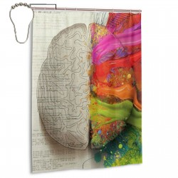 Brains Science Shower Curtain , Shower Bathroom Curtain 55x72 Inch Waterproof Fabric with Hooks , Wildly used in bathroom and hotel etc.