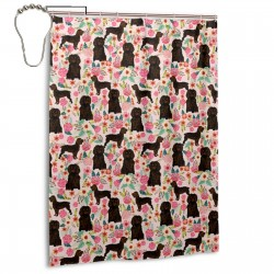 Boykin Spaniel Dog Pink Cute Florals Shower Curtain , Shower Bathroom Curtain 55x72 Inch Waterproof Fabric with Hooks , Wildly used in bathroom and hotel etc.