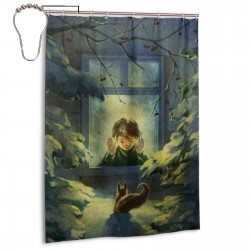 Boy Looking Out Of Window At Squirrel Shower Curtain , Shower Bathroom Curtain 55x72 Inch Waterproof Fabric with Hooks , Wildly used in bathroom and hotel etc.