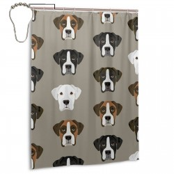 Boxer Dogs Boxer Heads Shower Curtain , Shower Bathroom Curtain 55x72 Inch Waterproof Fabric with Hooks , Wildly used in bathroom and hotel etc.