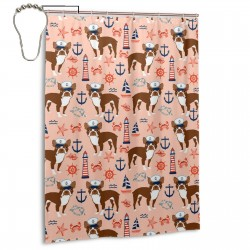 Boston Terrier Nautical Summer Anchors Shower Curtain , Shower Bathroom Curtain 55x72 Inch Waterproof Fabric with Hooks , Wildly used in bathroom and hotel etc.