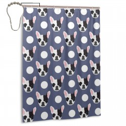Boston Terrier Cute Dog Shower Curtain , Shower Bathroom Curtain 55x72 Inch Waterproof Fabric with Hooks , Wildly used in bathroom and hotel etc.