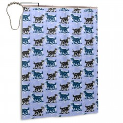 Border Collies On Blue Shower Curtain , Shower Bathroom Curtain 55x72 Inch Waterproof Fabric with Hooks , Wildly used in bathroom and hotel etc.