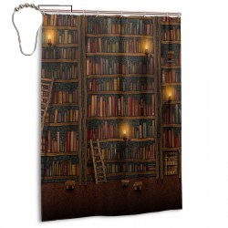 Bookshelf Shower Curtain , Shower Bathroom Curtain 55x72 Inch Waterproof Fabric with Hooks , Wildly used in bathroom and hotel etc.