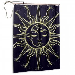 Bohemian Sun And Moon Shower Curtain , Shower Bathroom Curtain 55x72 Inch Waterproof Fabric with Hooks , Wildly used in bathroom and hotel etc.