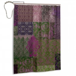 Bohemian Cheater Quilt Shower Curtain , Shower Bathroom Curtain 55x72 Inch Waterproof Fabric with Hooks , Wildly used in bathroom and hotel etc.