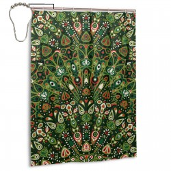 Bohemia Style Green Shower Curtain , Shower Bathroom Curtain 55x72 Inch Waterproof Fabric with Hooks , Wildly used in bathroom and hotel etc.