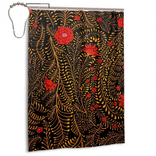Collective Ferns Black Shower Curtain , Shower Bathroom Curtain 55x72 Inch Waterproof Fabric with Hooks , Wildly used in bathroom and hotel etc.