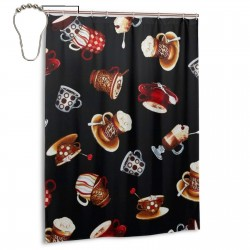 Coffee Cup Shower Curtain , Shower Bathroom Curtain 55x72 Inch Waterproof Fabric with Hooks , Wildly used in bathroom and hotel etc.