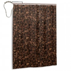 Coffee Beans Shower Curtain , Shower Bathroom Curtain 55x72 Inch Waterproof Fabric with Hooks , Wildly used in bathroom and hotel etc.
