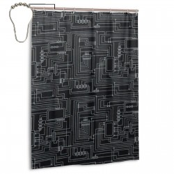 Circuit Diagram Shower Curtain , Shower Bathroom Curtain 55x72 Inch Waterproof Fabric with Hooks , Wildly used in bathroom and hotel etc.