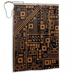 Circuit Board Shower Curtain , Shower Bathroom Curtain 55x72 Inch Waterproof Fabric with Hooks , Wildly used in bathroom and hotel etc.