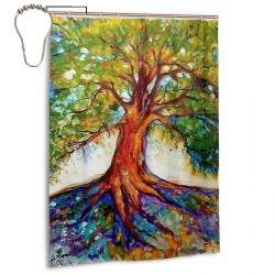 Cd541137ddec09d49271c56461a1f072--tree-of-life-painting-tree-of-life-art Shower Curtain , Shower Bathroom Curtain 55x72 Inch Waterproof Fabric with Hooks , Wildly used in bathroom and hotel etc.