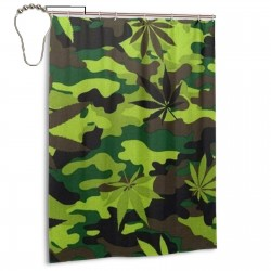 Cannabis Leaf Camouflage Shower Curtain , Shower Bathroom Curtain 55x72 Inch Waterproof Fabric with Hooks , Wildly used in bathroom and hotel etc.