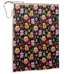 Bright Owls On Black Shower Curtain , Shower Bathroom Curtain 55x72 Inch Waterproof Fabric with Hooks , Wildly used in bathroom and hotel etc.