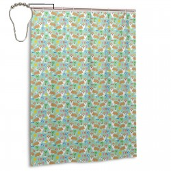 Corgi Beach Shower Curtain , Shower Bathroom Curtain 55x72 Inch Waterproof Fabric with Hooks , Wildly used in bathroom and hotel etc.