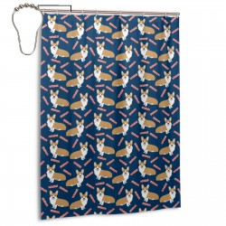 Dogs And Bacon Treats Shower Curtain , Shower Bathroom Curtain 55x72 Inch Waterproof Fabric with Hooks , Wildly used in bathroom and hotel etc.