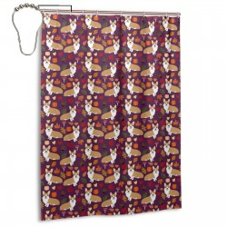 Corgi Autumn Leaves Fall Pumpkin Pinecones Acorn Autumns Corgis Dog Breed Shower Curtain , Shower Bathroom Curtain 55x72 Inch Waterproof Fabric with Hooks , Wildly used in bathroom and hotel etc.