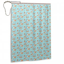 Corgi Attitude Shower Curtain , Shower Bathroom Curtain 55x72 Inch Waterproof Fabric with Hooks , Wildly used in bathroom and hotel etc.