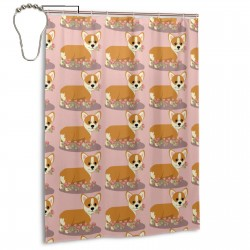 Coral Corgi_and_roses Shower Curtain , Shower Bathroom Curtain 55x72 Inch Waterproof Fabric with Hooks , Wildly used in bathroom and hotel etc.