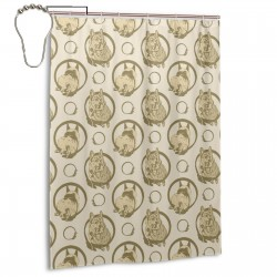 Collared Leaping Pembrokes - Tan Shower Curtain , Shower Bathroom Curtain 55x72 Inch Waterproof Fabric with Hooks , Wildly used in bathroom and hotel etc.