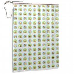 Cake & Corgi - Blue And Green Shower Curtain , Shower Bathroom Curtain 55x72 Inch Waterproof Fabric with Hooks , Wildly used in bathroom and hotel etc.
