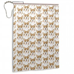 Burlap Corgis Shower Curtain , Shower Bathroom Curtain 55x72 Inch Waterproof Fabric with Hooks , Wildly used in bathroom and hotel etc.