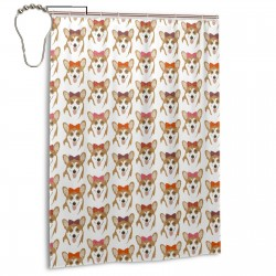 Burlap Corgis - Hair Bows Shower Curtain , Shower Bathroom Curtain 55x72 Inch Waterproof Fabric with Hooks , Wildly used in bathroom and hotel etc.