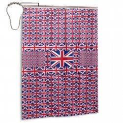 United Kingdom Shower Curtain , Shower Bathroom Curtain 55x72 Inch Waterproof Fabric with Hooks , Wildly used in bathroom and hotel etc.