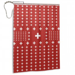 Switzerland Shower Curtain , Shower Bathroom Curtain 55x72 Inch Waterproof Fabric with Hooks , Wildly used in bathroom and hotel etc.