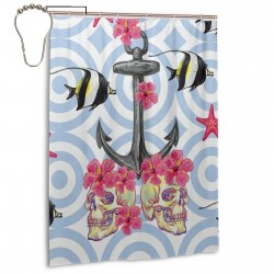 Anchor Sugar Skull Flower Starfish Shower Curtain , Shower Bathroom Curtain 55x72 Inch Waterproof Fabric with Hooks , Wildly used in bathroom and hotel etc.