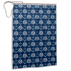 Anchors Away Nautical Navy Blue Shower Curtain , Shower Bathroom Curtain 55x72 Inch Waterproof Fabric with Hooks , Wildly used in bathroom and hotel etc.
