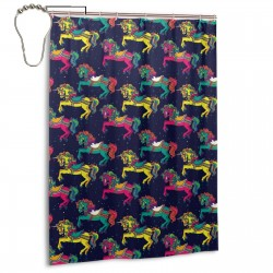 Amusement Park Carousel Horses Shower Curtain , Shower Bathroom Curtain 55x72 Inch Waterproof Fabric with Hooks , Wildly used in bathroom and hotel etc.