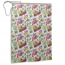American New York Doodle Pattern Shower Curtain , Shower Bathroom Curtain 55x72 Inch Waterproof Fabric with Hooks , Wildly used in bathroom and hotel etc.
