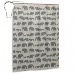 AMBOSELI KENYA ELEPHANT PARADE Shower Curtain , Shower Bathroom Curtain 55x72 Inch Waterproof Fabric with Hooks , Wildly used in bathroom and hotel etc.