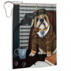 Ambesonne English Bulldog Shower Curtain , Shower Bathroom Curtain 55x72 Inch Waterproof Fabric with Hooks , Wildly used in bathroom and hotel etc.