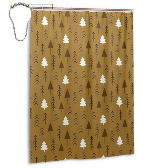 Alpine Winter Forest On Brown Shower Curtain , Shower Bathroom Curtain 55x72 Inch Waterproof Fabric with Hooks , Wildly used in bathroom and hotel etc.