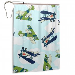 Allied Plane Flying Pattern Shower Curtain , Shower Bathroom Curtain 55x72 Inch Waterproof Fabric with Hooks , Wildly used in bathroom and hotel etc.