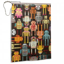 All The Colors Of The Robot Shower Curtain , Shower Bathroom Curtain 55x72 Inch Waterproof Fabric with Hooks , Wildly used in bathroom and hotel etc.