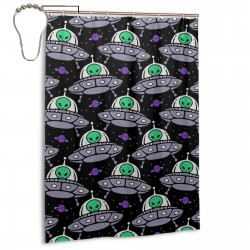 Alien UFO Pattern Shower Curtain , Shower Bathroom Curtain 55x72 Inch Waterproof Fabric with Hooks , Wildly used in bathroom and hotel etc.