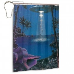 Alien UFO Shower Curtain , Shower Bathroom Curtain 55x72 Inch Waterproof Fabric with Hooks , Wildly used in bathroom and hotel etc.