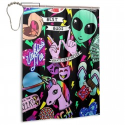 Alien Grunge Unicorn Shower Curtain , Shower Bathroom Curtain 55x72 Inch Waterproof Fabric with Hooks , Wildly used in bathroom and hotel etc.