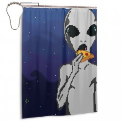 Alien Eat Pizza Cool Shower Curtain , Shower Bathroom Curtain 55x72 Inch Waterproof Fabric with Hooks , Wildly used in bathroom and hotel etc.