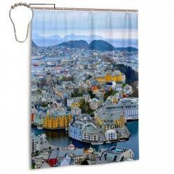 Ålesund Scenery Shower Curtain , Shower Bathroom Curtain 55x72 Inch Waterproof Fabric with Hooks , Wildly used in bathroom and hotel etc.