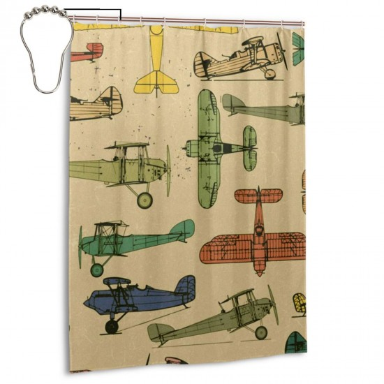 Airplanes Pattern Shower Curtain , Shower Bathroom Curtain 55x72 Inch Waterproof Fabric with Hooks , Wildly used in bathroom and hotel etc.