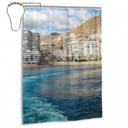 Aguadulce Almeria Shower Curtain , Shower Bathroom Curtain 55x72 Inch Waterproof Fabric with Hooks , Wildly used in bathroom and hotel etc.