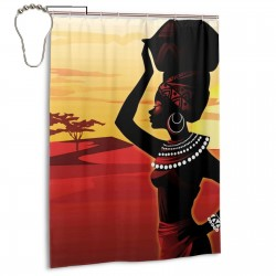 African Woman Shower Curtain , Shower Bathroom Curtain 55x72 Inch Waterproof Fabric with Hooks , Wildly used in bathroom and hotel etc.