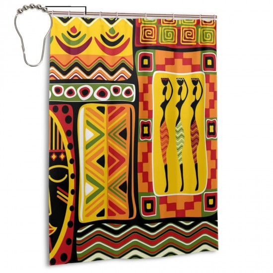 African Patterns Shower Curtain , Shower Bathroom Curtain 55x72 Inch Waterproof Fabric with Hooks , Wildly used in bathroom and hotel etc.